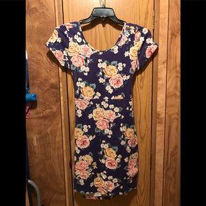 Dresses & Skirts - Navy Blue Floral Skater Dress Size L
